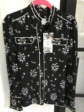 ERDEM X H&M Women's Black Floral Silk Pajama Blouse Size us 6 NWT sold out!