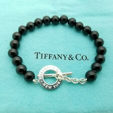 Tiffany & Co. Sterling Silver 8mm Black Onyx Beaded 8.5' Inch Toggle Bracelet