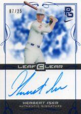 HERBERT ISER 2015 LEAF CLEAR BLUE PERFECT GAME AUTOGRAPHED BASEBALL CARD 7/25