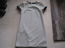 M&S BLACK AND WHITE STRIPED CAPPED SLEEVE DRESS 13-14 YEAR OR UK 8-10