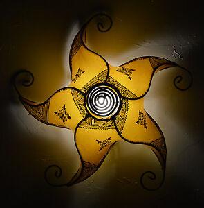 Moroccan Henna Ceiling Light Fixture Goat Skin Handmade Fancy Home Decor Yellow
