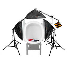 EzyLite 3 Head Boom Stand Kit 75cm Cube Tent Product Photography 1575W Ecommerce