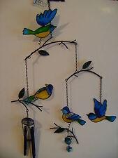 Nuevo triple de Vidrio Colgante de Pájaro Aves Carillón De Viento Azul Verde Amarillo WC_73124
