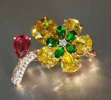 18K Rose Gold Flower Brooch Pin made w/ Swarovski Crystal Red Green Yellow Stone