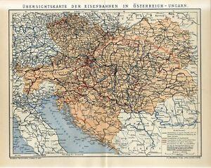 1910 RAILROAD of AUSTRIA-HUNGARY EMPIRE CZECH UKRAINE BUKOVINA BOSNIA Map dated