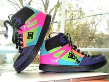 DC SKATEBOARD High Top LEATHER SUEDE Lace-Up SNEAKERS Shoes 6.5 NEON Multicolor