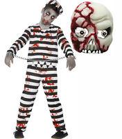 Zombie Monster Convict Prisoner Kids Undead Halloween Fancy Dress Costume + MASK