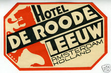 1940s Luggage Label Hotel De Roode Amsterdam Holland