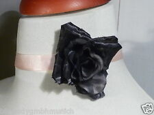 Halsband CHOKER ✿ Schwarz ROSA Rose ✿ HALSKETTE Haarband SATINBAND Gürtel LONDON