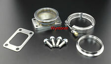 "T3 GT30 GT35R GTX30 Turbo Inlet To 3"" V Band SS Adapter w/Clamp GSK Studs Nuts"