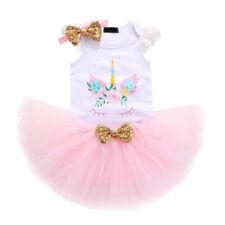 Baby Mädchen Erster Geburtstag Party Kleidung Einhorn Body Tutu Rock Stirnband