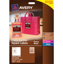 Avery Label 980016 L7124 Glossy White Square 20 up/10 Sheets
