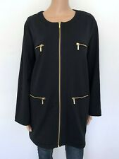 Gray JOAN VASS Long Sleeve Rib Cardigan Plus Size 2X Black
