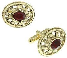 Lattice Red Ruby Crystal Oval Cufflink Gold Intricate Design1928 Cuff Links