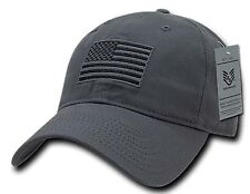 Grey US American Flag Patch United States America Polo Tonal Baseball Hat Cap