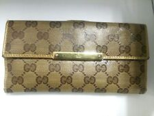 Auth GUCCI METAL BAR/Crystal GG 112715 Beige DarkBrown Gold Long Wallet