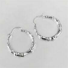 New Bamboo Earrings Silver Jewelry Sterling Wedding Women Christmas Love Gift