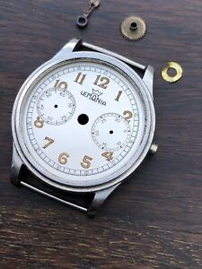 Very Rare Vintage Lemania One Button Chrono Caliber 13 Mid Case, Dial And Hand.