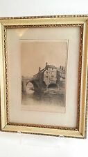 DURHAM ELVET (BRIDGE) FRAMED ETCHING 1930 Double Signed CEP/C.E. PROCTOR? 4 x 6""