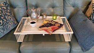 Hollywood Regency Adjustable Wicker Glass  Bed Breakfast Tray by Kuerne Butler