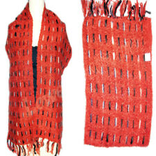 Handloom acrylic Scarf Oblong Striped Wrap Dupatta Fabric red color