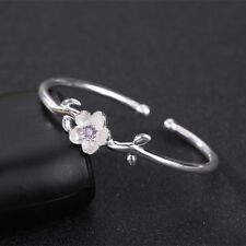 Plated Cherry Blossom Art Flower Open Bangle Cuff Bracelets for Women Jewelry