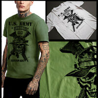 US Army Ranger T-shirt Special Forces Airborne Paratrooper Skull And Rifles Men
