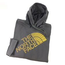 The North Face Pullover Hoodie Mens XL Gray Sweatshirt Orange Graphic Spellout