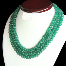 388.00 Cts Earth Mined Green Emerald 3 Strand Round Cut Beads Necklace NK 73E25