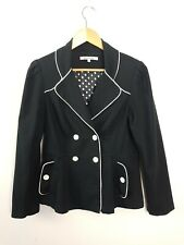 Review Black Double Breasted Jacket Coat Blazer Women's 12 White Trim AU MADE