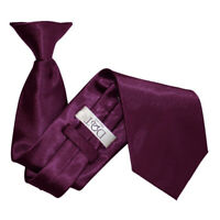DQT Satin Plain Solid Plum Waiter Security Funeral Clip On Tie
