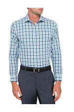 NEW Van Heusen Slim Fit Slim Aqua & Blue Check Business Shirt Indigo