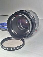 Minolta Maxxum AF 50mm f1.7 Lens Sony DSLR Mount Albinar 49mm 50/1/7 w/ camera