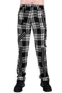 Tiger of London Black/White Tartan Punk Rock Bondage Zip Pants Trousers
