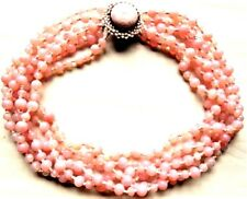 Vintage Signed Miriam Haskell Pink Opalite Spotted Glass Beads 6 Strand Necklace