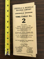 1972 Louisville & Nashville Railroad Company Time-Table 2 Employees Only Map