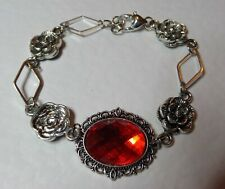 VICTORIAN STYLE -DIAMOND ROSE- ORANGE RED CRYSTAL SILVER PLATED BRACELET DR