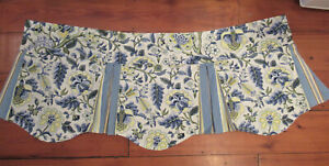 Waverly Imperial Dress Lined Scalloped Valance w/ Sripe Pleat Insert Yellow Blue
