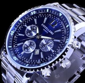 Excellanc Herren Armband Männer Uhr Blau Datum Edelstahl SI-BL