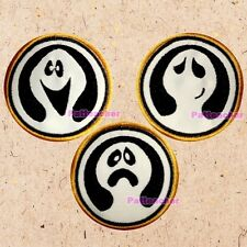 Lot of 3 Filmation Ghostbusters Patches Ghost Faces Logo Cartoon Smiling Sad