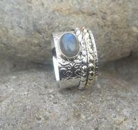 Labradorit Solid 925 Sterling Silver Spinner Ring Meditation statement Ring sr10