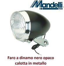 0160 - Faro Anteriore in metallo Nero a dinamo per Bici 20-24-26-28 City Bike