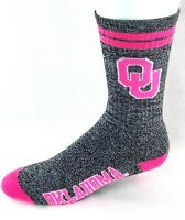 Oklahoma Sooners NCAA Heather Gray 2 Stripe Pink Crew Socks