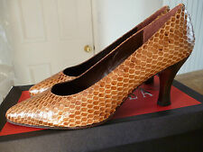 True vintage but new Italian Carvela snakeskin look court shoes sz 37.5