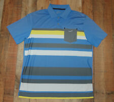 Nike Golf Dri Fit Tour Performance Men S/S Polo Shirt Blue Yellow Gray Medium