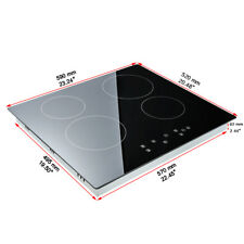 Electric Hob Touch Control Cooker 4 Zone Electric Ceramic Black 60cm 1200W&1800W