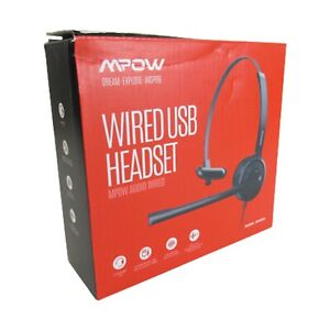 MPOW Audio Wired USB Headset Model BH323A 3.5MM Jack 5V Built-in Microphone NEW