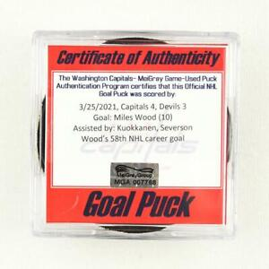 2020-21 Miles Wood New Jersey Devils Game-Used Goal-Scored Puck -Kuokkanen Ast.