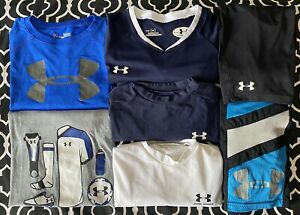 Lot of Boys Under Armour shirts shorts 7 total YLG Youth Large Soccer Athletic
