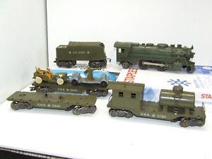 MARX ARMY TRAIN SET 666 ARMY GREEN METAL LOCO W/SMOKE